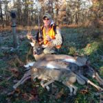 An opening morning tri-fecta; a buck, a doe and a coyote